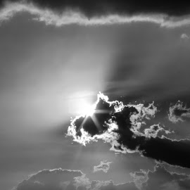 Hide & seek by Mahul Mukherjee - Landscapes Cloud Formations ( black& white, ray, sky, cloud, photo, light, sun )