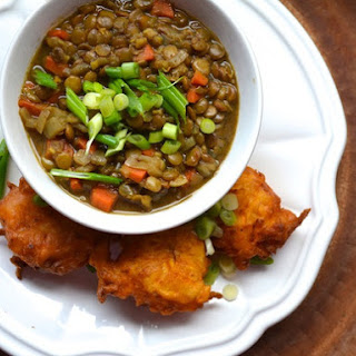 Curried Lentil Soup With Savory Sweet Potato Fritters
