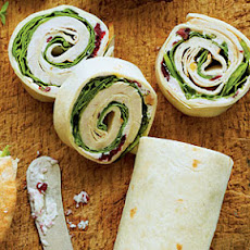 Turkey-and-Spinach Wraps with Cranberry-Walnut-Cream Cheese Spread