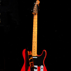 red guitar by Sue Connor - Artistic Objects Musical Instruments ( red, electric, guitar, entertainment, electric guitar,  )