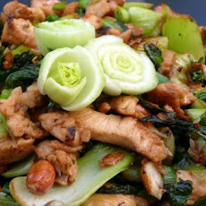 Spicy Stir Fried Chicken and Greens with Peanuts