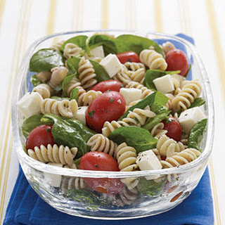 Spinach, Tomato, and Fresh Mozzarella Pasta Salad with Italian Dressing