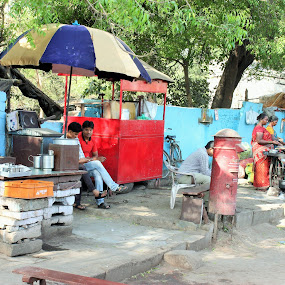 Street  Tea stalls by Thakkar Mj - City,  Street & Park  Markets & Shops ( stall, street, women at work, tea stall, street market, tea, street photography,  )