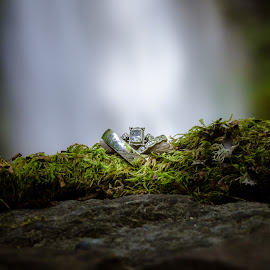 Ring Shot by Missy Fant - Wedding Details ( ring, macro, tree, wedding, green, waterfall, forest, ., object, artistic, jewelry )