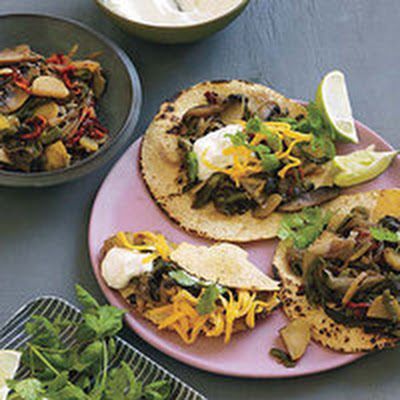 Smoky Poblano-and-Portobello Tacos