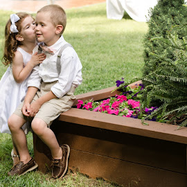 The First Kiss by Aaron Lockhart - Wedding Other ( life like photo, aaron lockhart, wedding, ring bearer, flower girl )