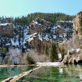 Gorgeous Green Hanging Lake   by Laurie DeMent - Landscapes Mountains & Hills