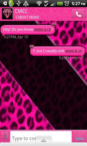 GO SMS THEME HotPinkLeopard2