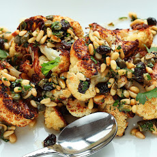 Roasted Cauliflower With Pine Nut, Raisin, and Caper Vinaigrette