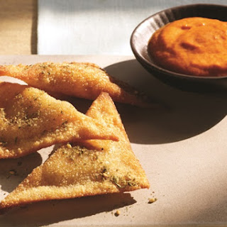 Pan-Fried Hummus Ravioli with Red Pepper Coulis