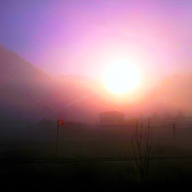 Fog and sun by Claudiu Petrisor - Landscapes Weather ( blue sky, mountain, fog, diffused light, sunset, moisture, oramge )