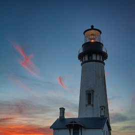Yaquina Head Lighthouse at Sunset  by Kevin Brown - Landscapes Travel ( oregon, winter, sunset, yaquina head lighthouse, newport, coast )