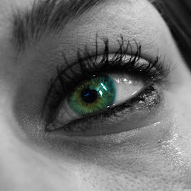 Emerald Tear by Derrick Leiting - People Body Parts ( despair, person, b&w, monochrome, loneliness, sadness, green, art, d5200, crying, beauty, depression, portrait, emotion, tears, eyes, mascara, woman, nikon, 18-55, eye )