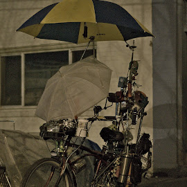 The rain doesn't scare me. by Jonathan Ferland-Valois - Transportation Bicycles ( bike, homeless, downtown eastside, vancouver, bicycle )