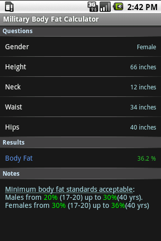 Military Body Fat Calculator