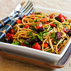 Recipe for Whole Wheat Spagetti with No-Cook Sauce of Tomatoes, Arugula, Olives, and Capers