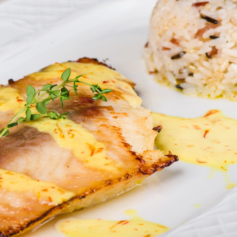 Grilled Halibut with Mustard Sauce