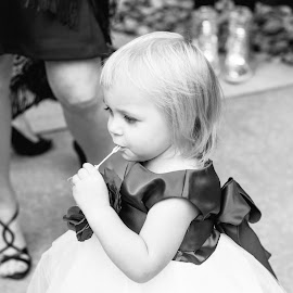 by Brandi Hollywood - Wedding Getting Ready ( wedding photography, black and white, wedding, bubbles, children )