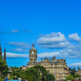 The Scots Monument and The Balmoral Hotel, Edinburgh by Lyndsay Hepburn - City,  Street & Park  Skylines ( thebalmoralhoteledinburgh, scotsmonument, edinburghviews, edincburghcityskyline, edinburghhotelandmonument )