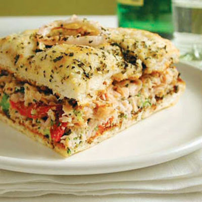 Broccoli and Smoked Turkey Focaccia Sandwiches