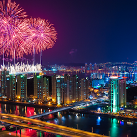 Boom by Keith Homan - City,  Street & Park  Skylines ( gwangalli, keith homan, buildings, busan, south, fireworks, pusan, night, bridge, gwangan, korea, , city )