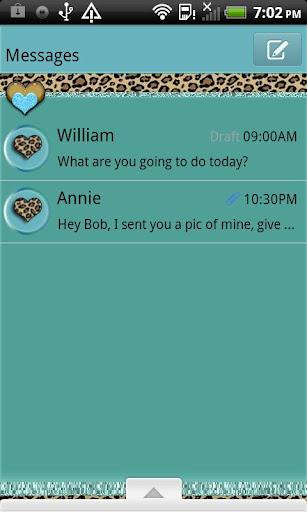 GO SMS THEME TealLeopard4U
