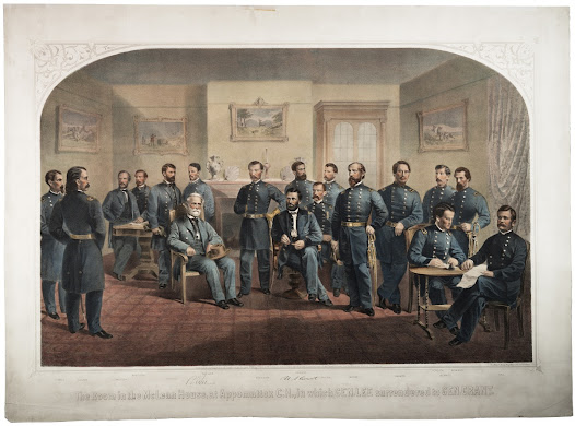 On April 9, 1865, at Appomattox Court House in central Virginia, Confederate General Robert E. Lee surrendered his army to Union General Ulysses S. Grant. Lee's decision to surrender helped to prevent large-scale guerrilla warfare.