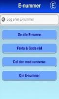 Screenshot of E nummer & Fødevare Guide