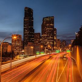 North Bound by Chris Kontoravdis - City,  Street & Park  Street Scenes ( lights, skyline, traffic, highway, seattle, buildings, north )