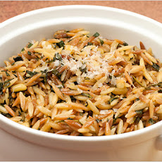 Toasted Orzo Pilaf with Garlic and Spinach