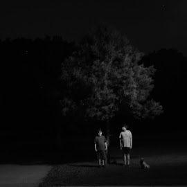Please Hold Still by Brian Hughes - People Family ( park, children, night, kids, dog )