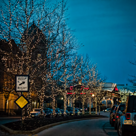 Christmas lights by Judy Deaver - City,  Street & Park  Street Scenes ( lights, lighting, christmas, mood, mood factory, holiday, hanukkah, red, green, artifical, colors, Kwanzaa, blue, black, celebrate, tis the season, festive )