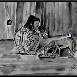Begger's animal love by Milan Kumar Das - Painting All Painting