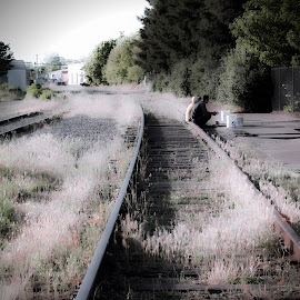 homeless friends by Leslie Hunziker - City,  Street & Park  Historic Districts ( railroad tracks, friends, people, downtown )