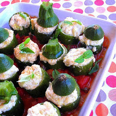 Hip Ricotta-stuffed Zucchini on a Tomato Bed