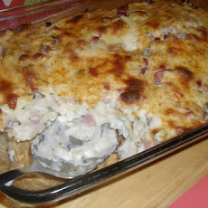 Spinach, Ham and Potato Au Gratin