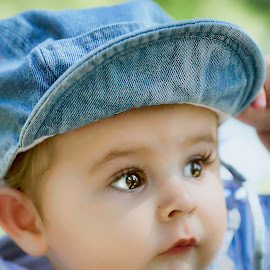 Hello Sir! What a pleasant morning. by Laura Prieto - Babies & Children Babies ( boy with cap, blue, baby, baby boy, baby eyes )