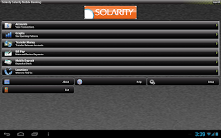 Screenshot of Solarity Mobile Banking