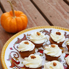 Pumpkin Walnut Cupcakes with Spiced Cream Cheese Frosting