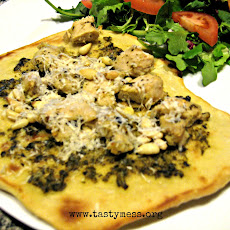Pesto Chicken Naan Pizzas