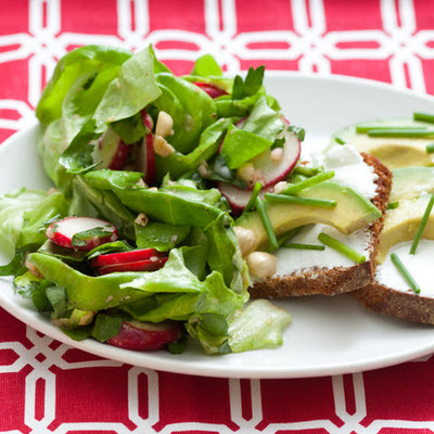 Avocado-Goat Cheese Tartines with Bibb Lettuce Salad