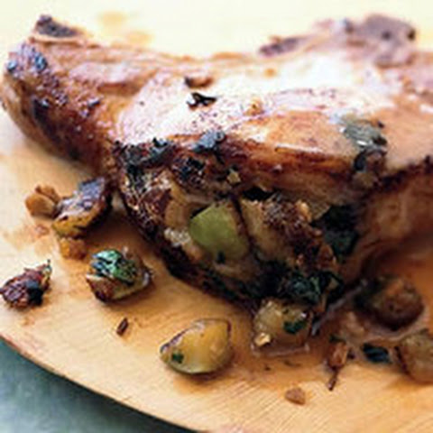 Pork Chops with Granola-Apple Stuffing