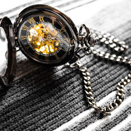 Time by Christian Windisch - Artistic Objects Other Objects ( pocketwatch, time, macro, chain, black and white, clock, watch, mechanical, gold, yellow, close up, golden,  )