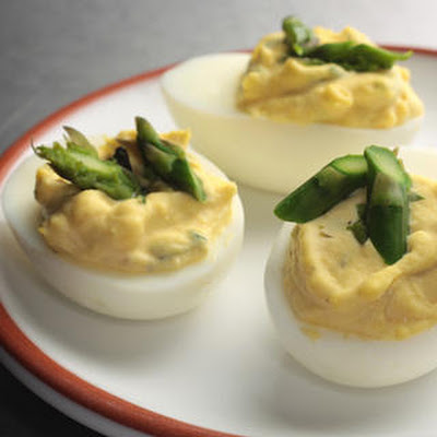 Chèvre Deviled Eggs with Asparagus
