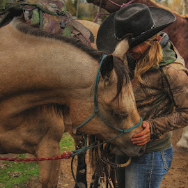 by Val Brackenridge - Animals Horses ( female rider, horse and rider, buckskin horse, horse tack, horse, wrangler, cowgirl, horse rider, horsewoman )