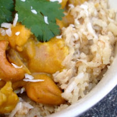Pumpkin Cashew Coconut Curry over Coconut Rice