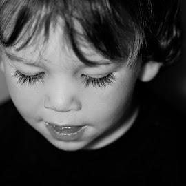 by Lidy Kerr - Babies & Children Toddlers ( face, eyelashes, black and white, sad, eyes )