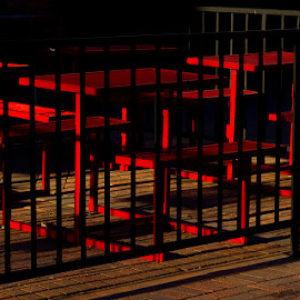 Dutch's Bar and Grill, Greeley, Colorado by Paul Dineen - Artistic Objects Furniture ( contrast, chair, red, grill, dark, geometric,  )