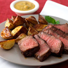Pepper-Crusted Steak with Mustard-Mint Sauce