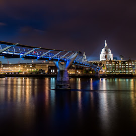 St Paul's & Millennium Bridge by Sheldon Anderson - Buildings & Architecture Public & Historical ( night photography, london, 2014, st paul's, dramatic, night, cathedral, scenic, bridge, nights capes, river,  )